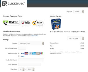 Clickbank Checkout Page